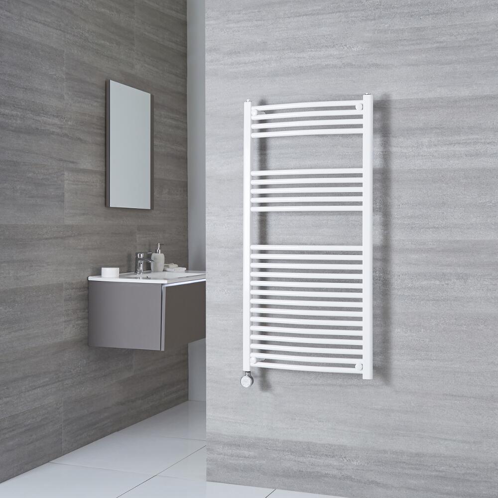 Milano Calder Electric - Curved White Heated Towel Rail 1200mm x 600mm