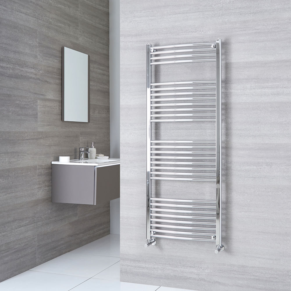 Milano Ribble - Curved Chrome Heated Towel Rail 1500mm x 600mm
