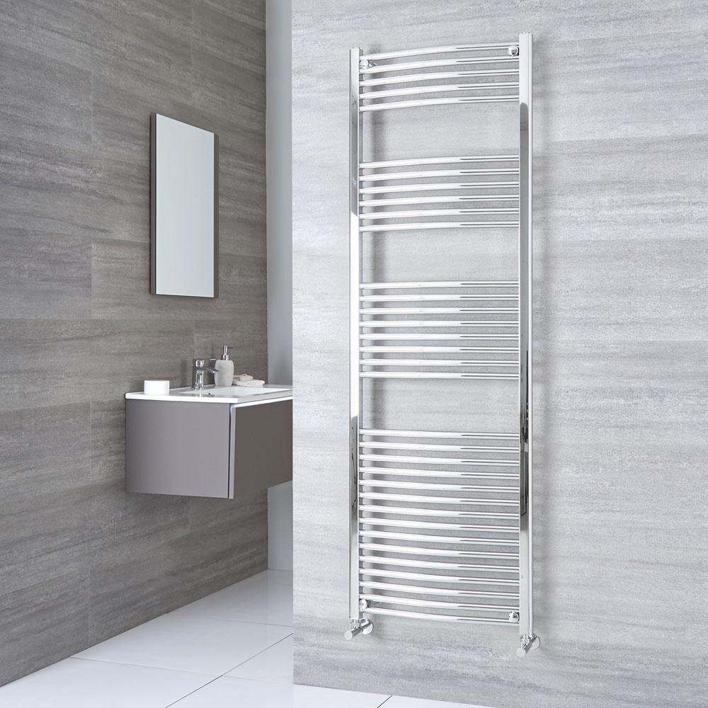 Milano Ribble - Curved Chrome Heated Towel Rail 1800mm x 600mm
