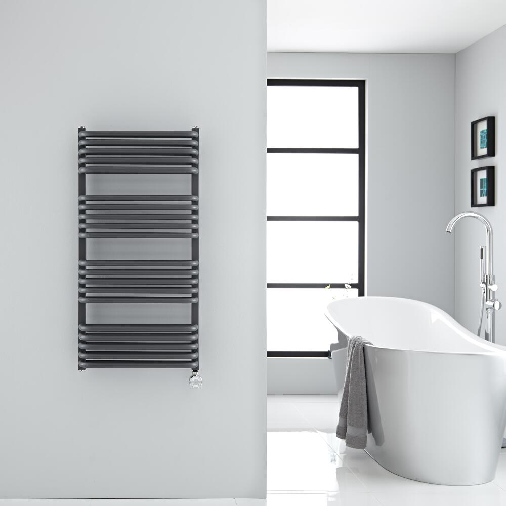 Best Heating Milano Bow Electric - Anthracite D Bar Heated Towel Rail 1000mm x 500mm