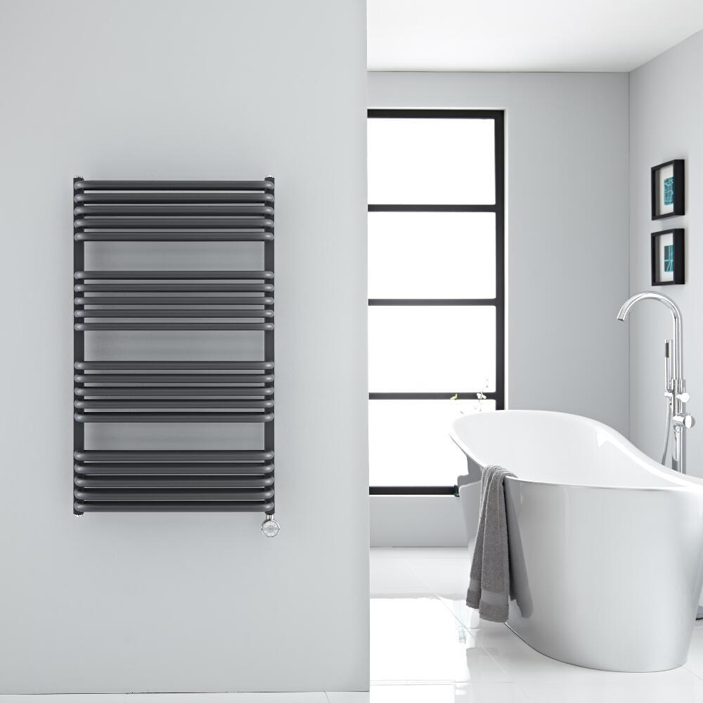 Best Heating Milano Bow Electric - Anthracite D Bar Heated Towel Rail 1000mm x 600mm