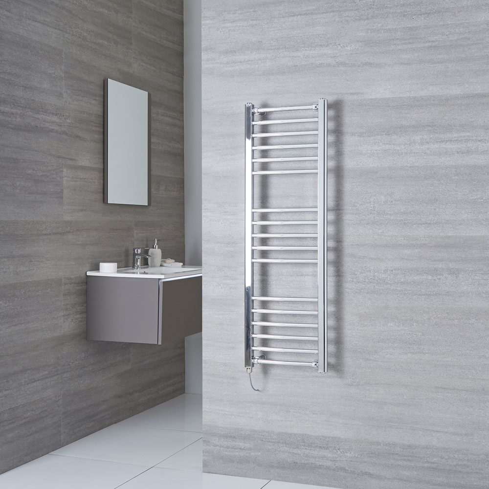 Milano Eco Electric - Curved Chrome Heated Towel Rail 1200mm x 400mm