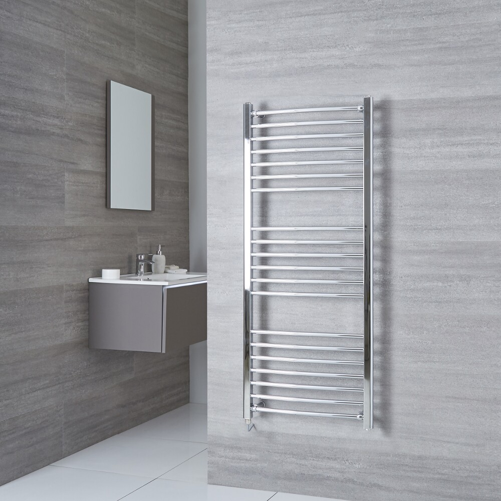 Milano Eco Electric - Curved Chrome Heated Towel Rail 1400mm x 500mm