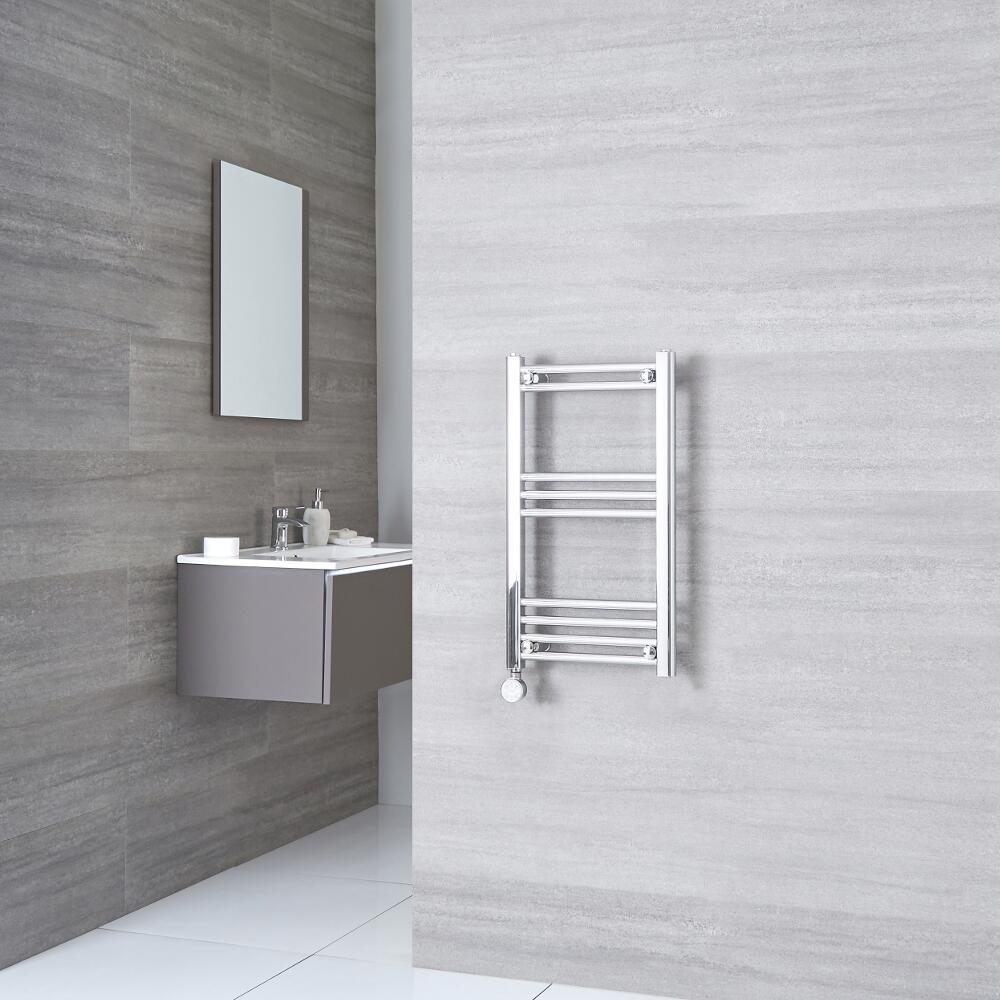 Milano Ribble Electric - Flat Chrome Heated Towel Rail 700mm x 400mm