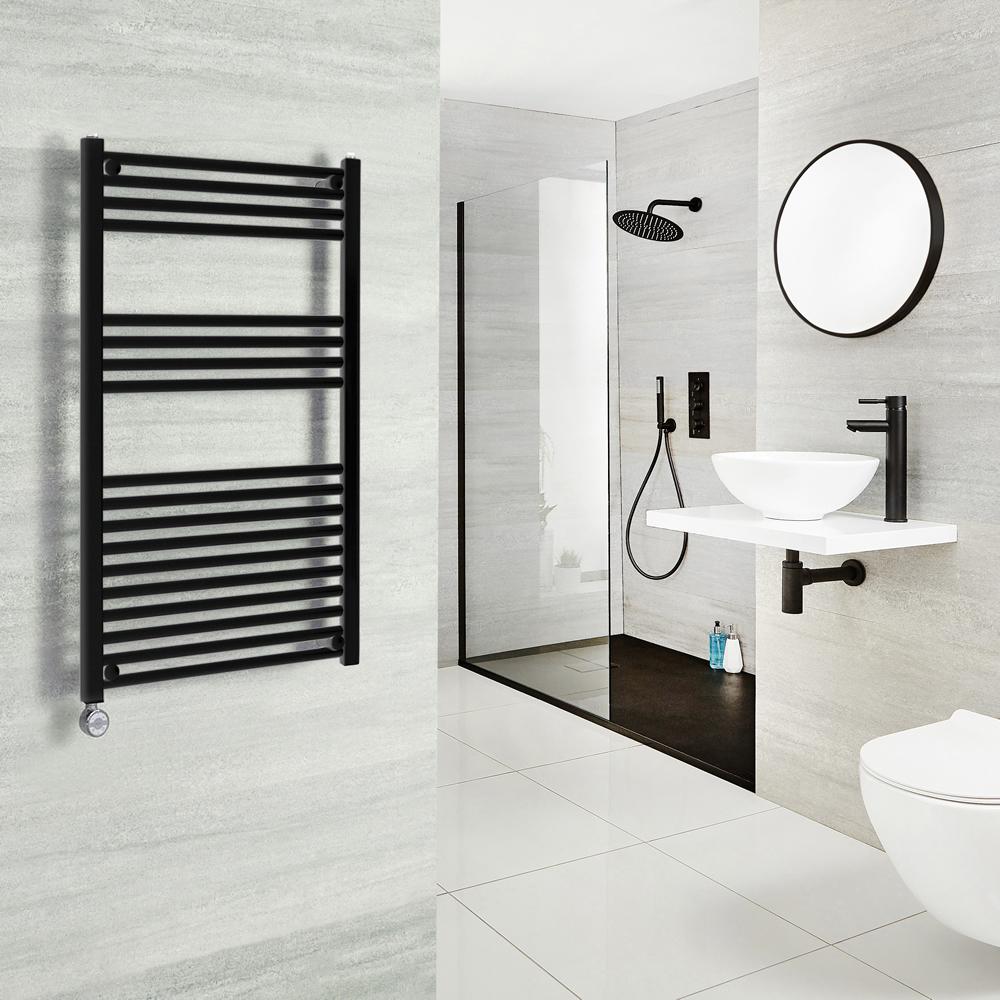 Milano Nero Electric - Black Heated Towel Rail 800mm x 500mm