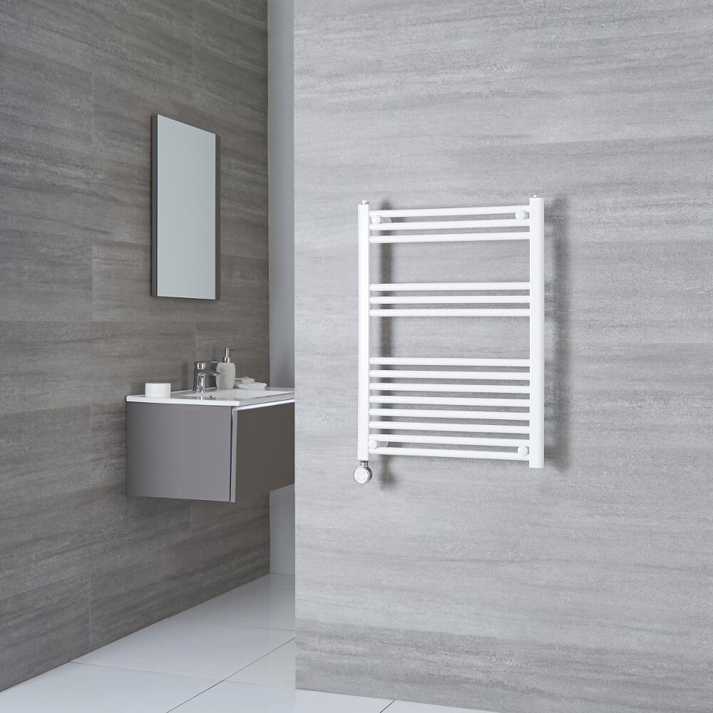 Milano Calder Electric - Flat White Heated Towel Rail 800mm x 500mm