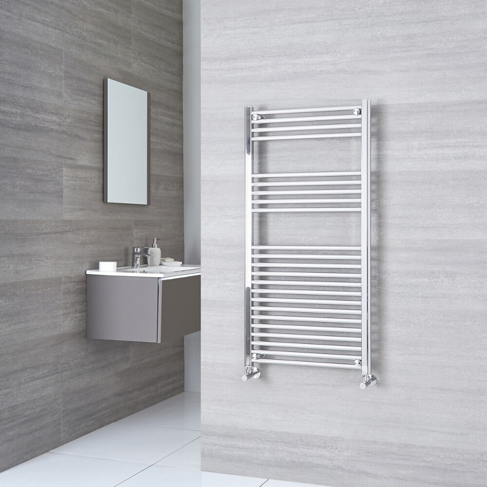 Milano Ribble - Flat Chrome Heated Towel Rail 1200mm x 500mm