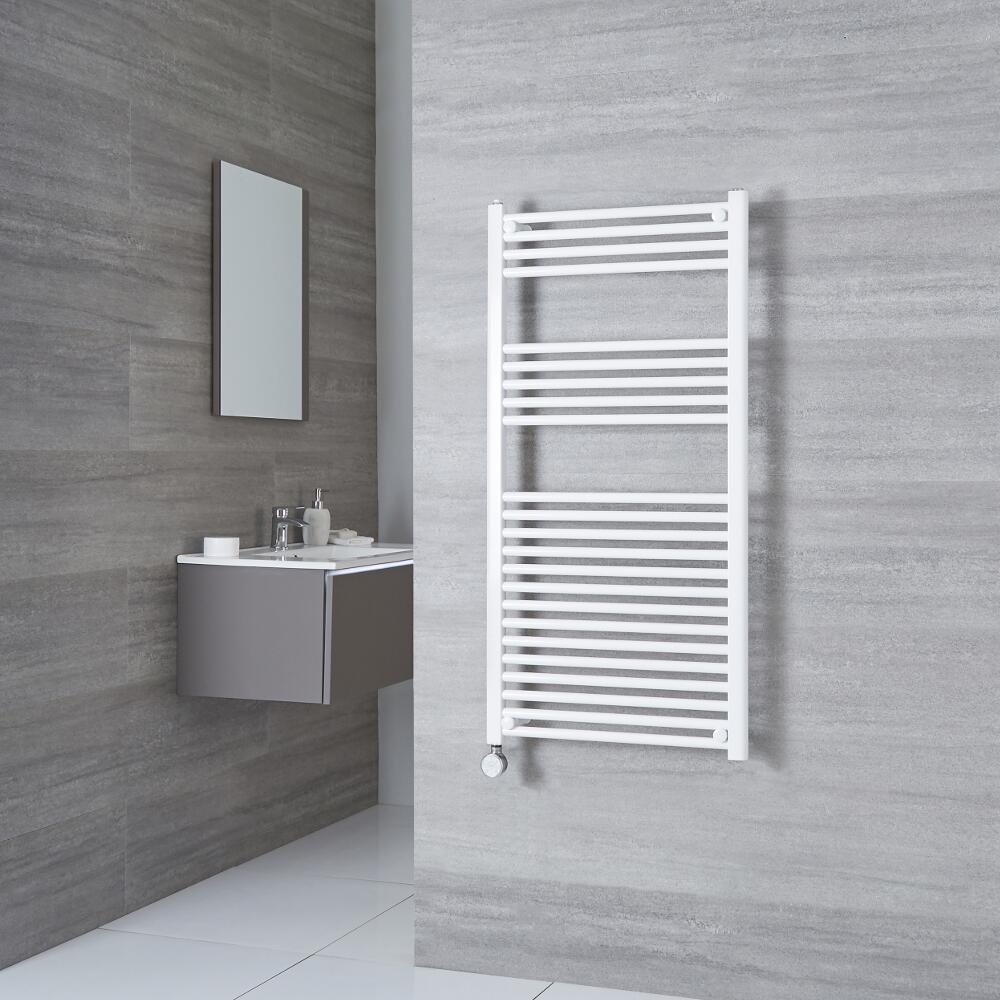 Milano Calder Electric - Flat White Heated Towel Rail 1200mm x 500mm