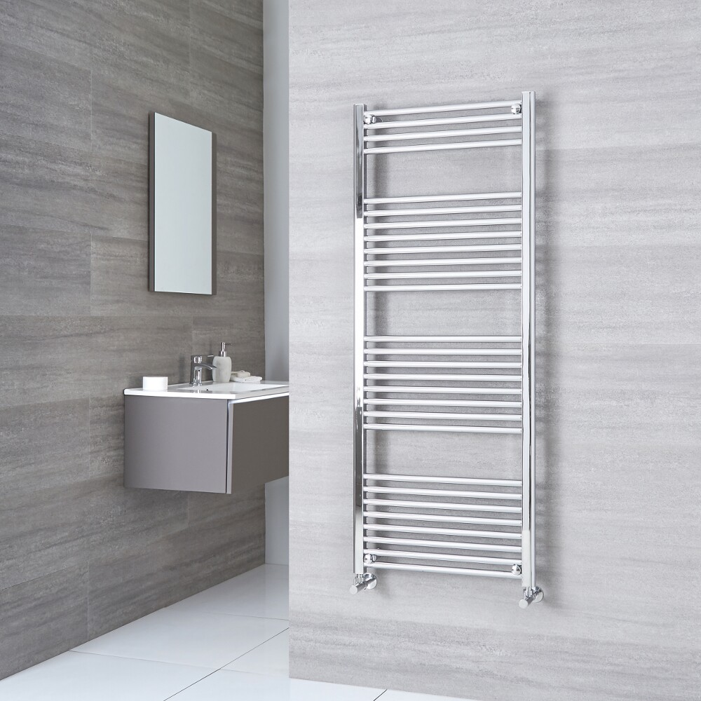 Milano Ribble - Flat Chrome Heated Towel Rail 1500mm x 500mm