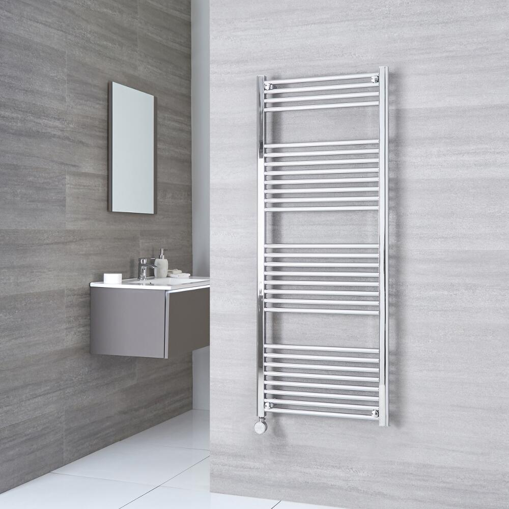 Milano Ribble Electric - Flat Chrome Heated Towel Rail 1500mm x 500mm