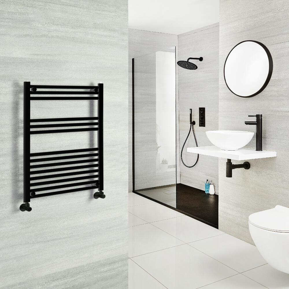 Milano Nero - Black Heated Towel Rail 800mm x 600mm