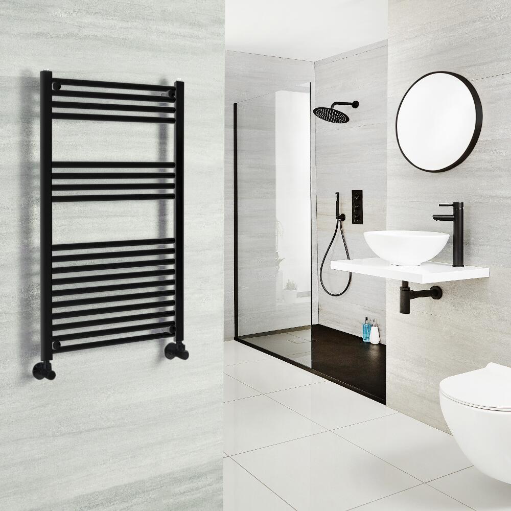 Milano Nero - Black Heated Towel Rail - Various Sizes and Choice of Valves
