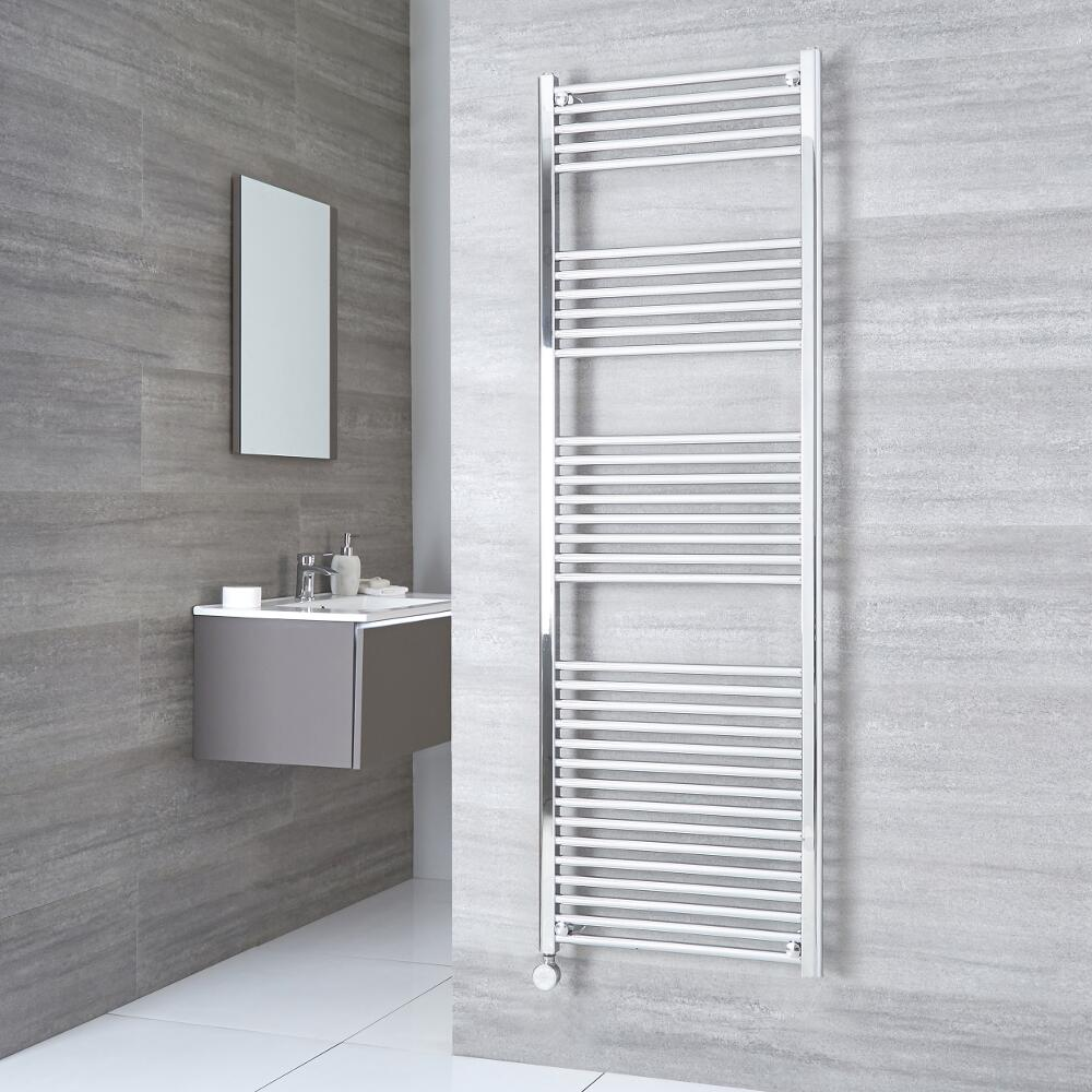 Milano Ribble Electric - Flat Chrome Heated Towel Rail 1800mm x 600mm