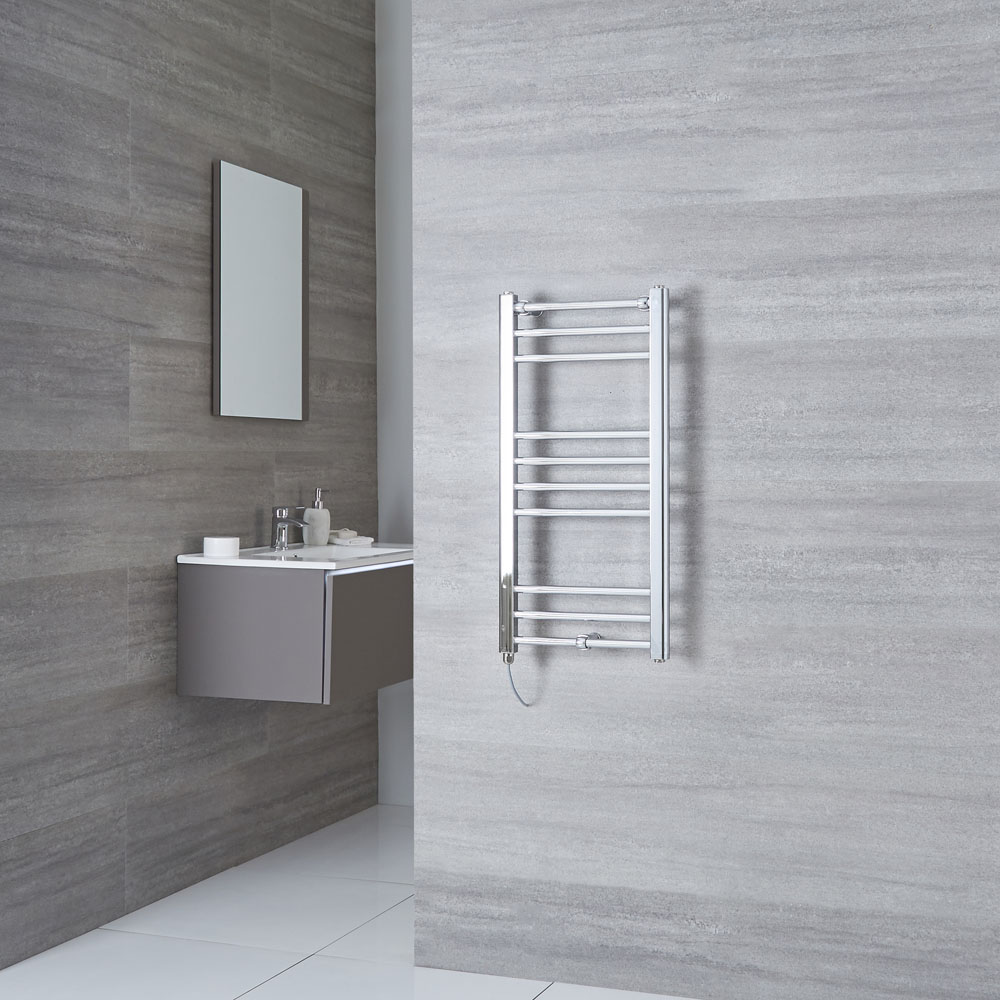 Milano Eco Electric - Flat Chrome Heated Towel Rail 800mm x 400mm