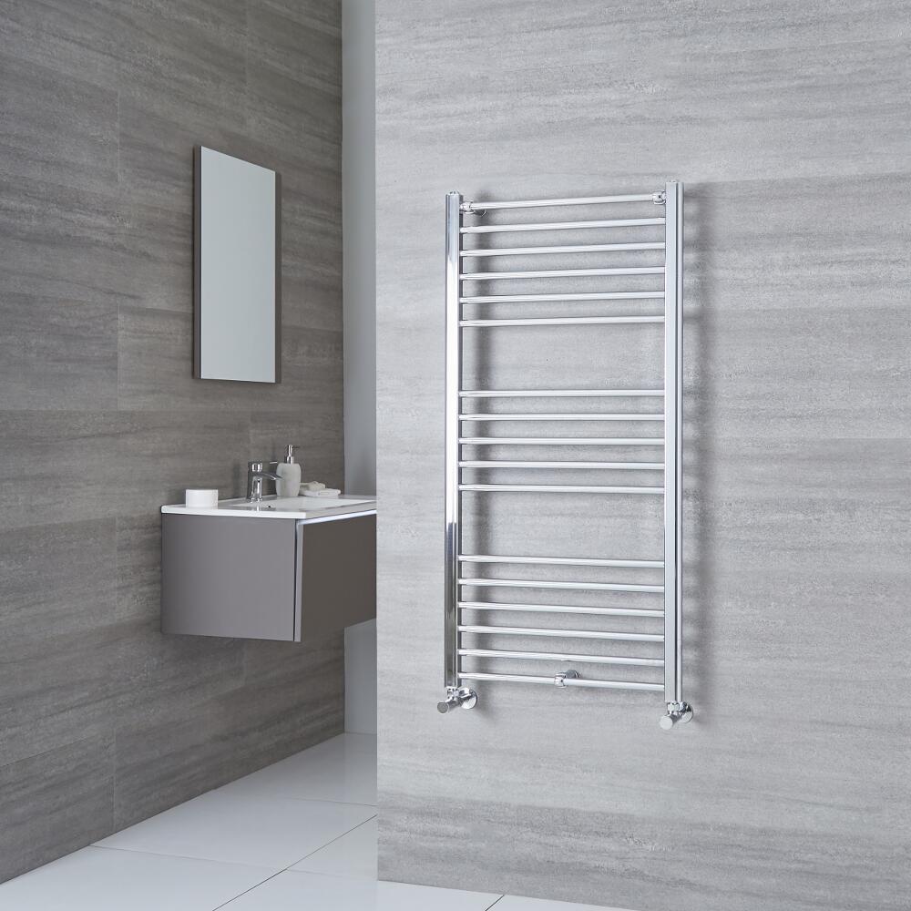 Milano Eco - Flat Chrome Heated Towel Rail 1200mm x 500mm