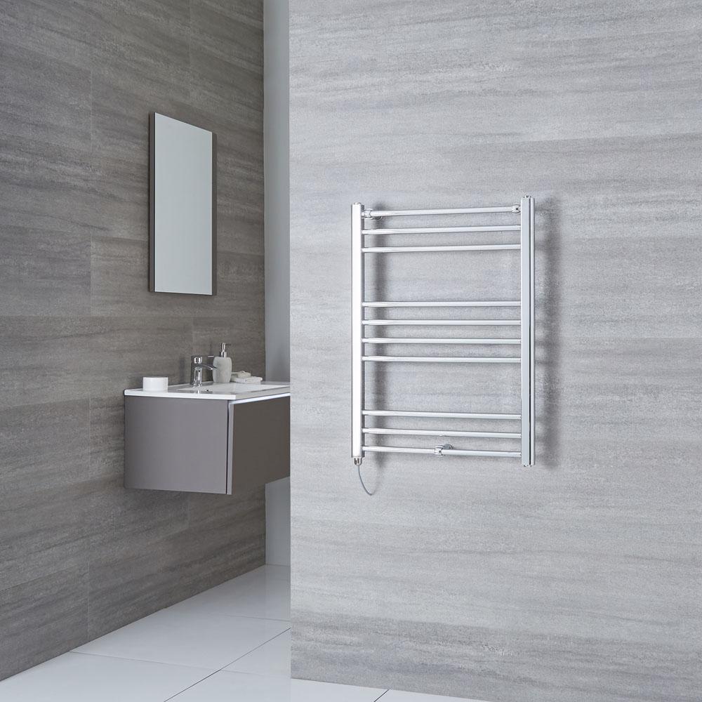 Milano Eco Electric - Flat Chrome Heated Towel Rail 800mm x 600mm