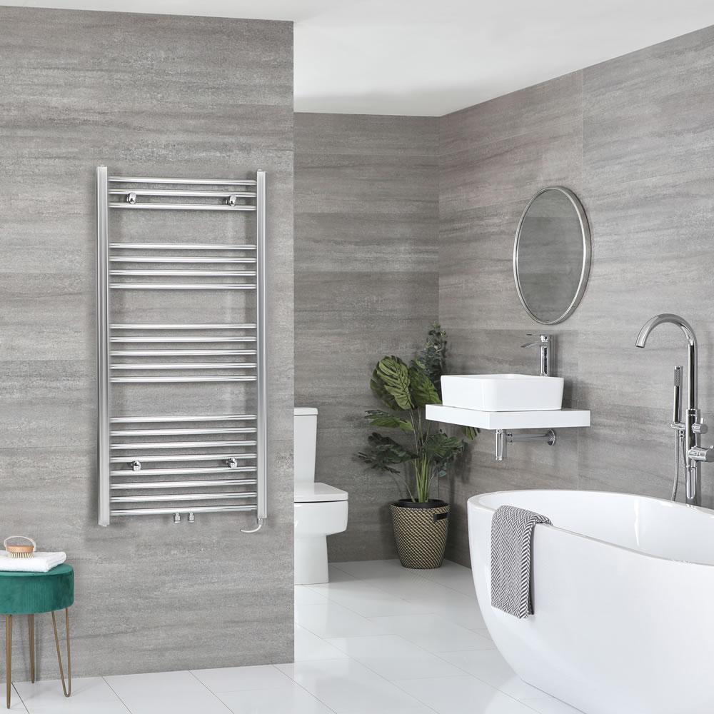 Milano Neva Electric - Chrome Heated Towel Rail 1188mm x 500mm