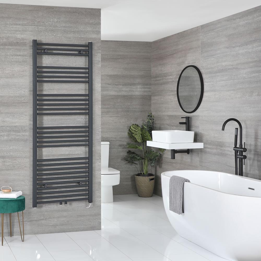 Milano Neva Electric - Anthracite Heated Towel Rail 1600mm x 600mm