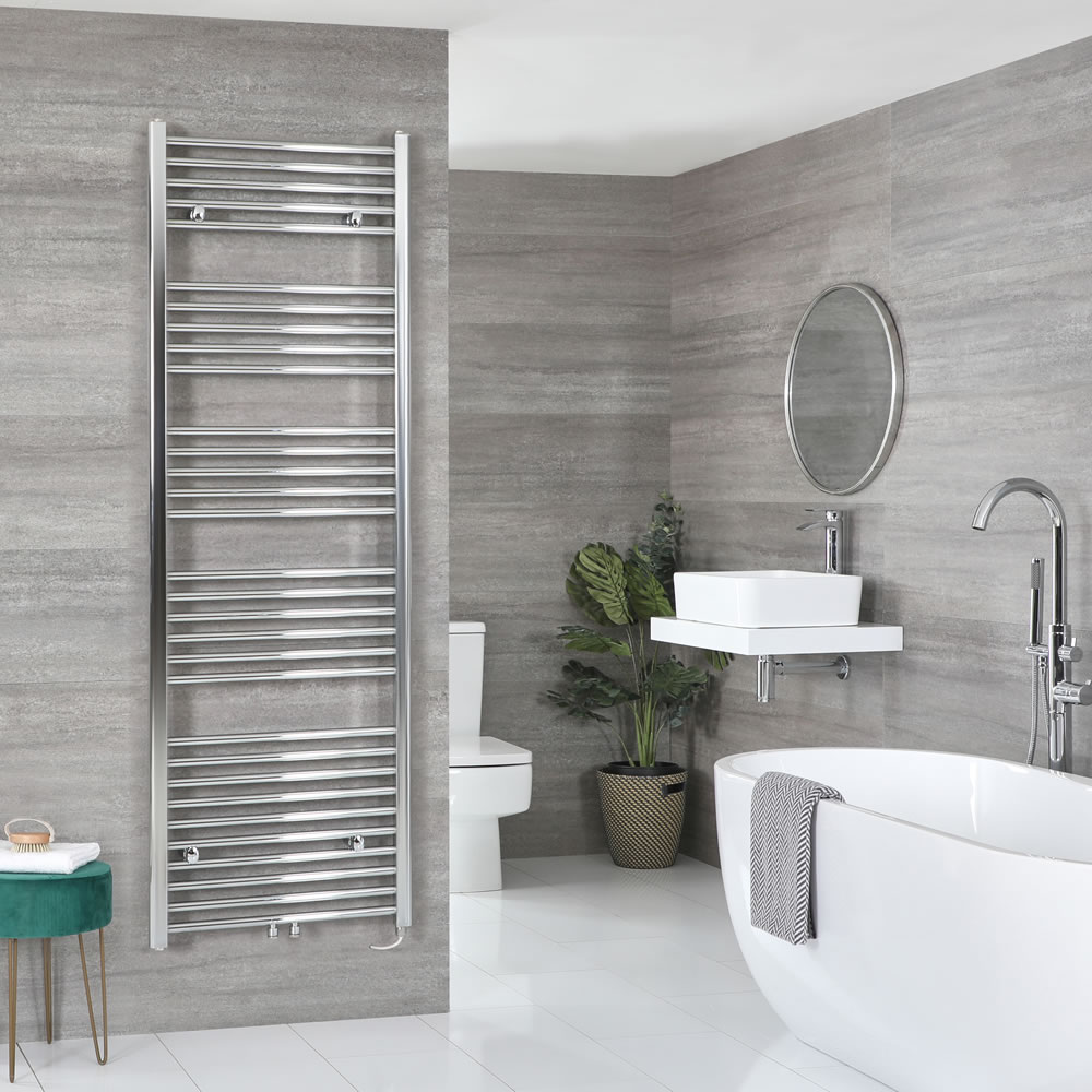 Milano Neva Electric - Chrome Heated Towel Rail 1785mm x 600mm