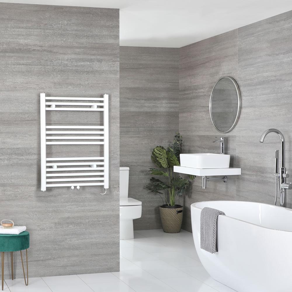 Milano Neva Electric - White Heated Towel Rail 803mm x 600mm