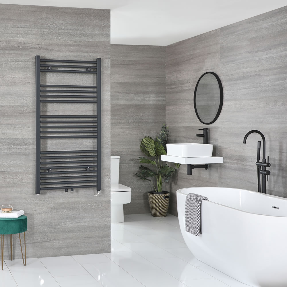 Milano Neva Electric - Anthracite Heated Towel Rail 1188mm x 600mm