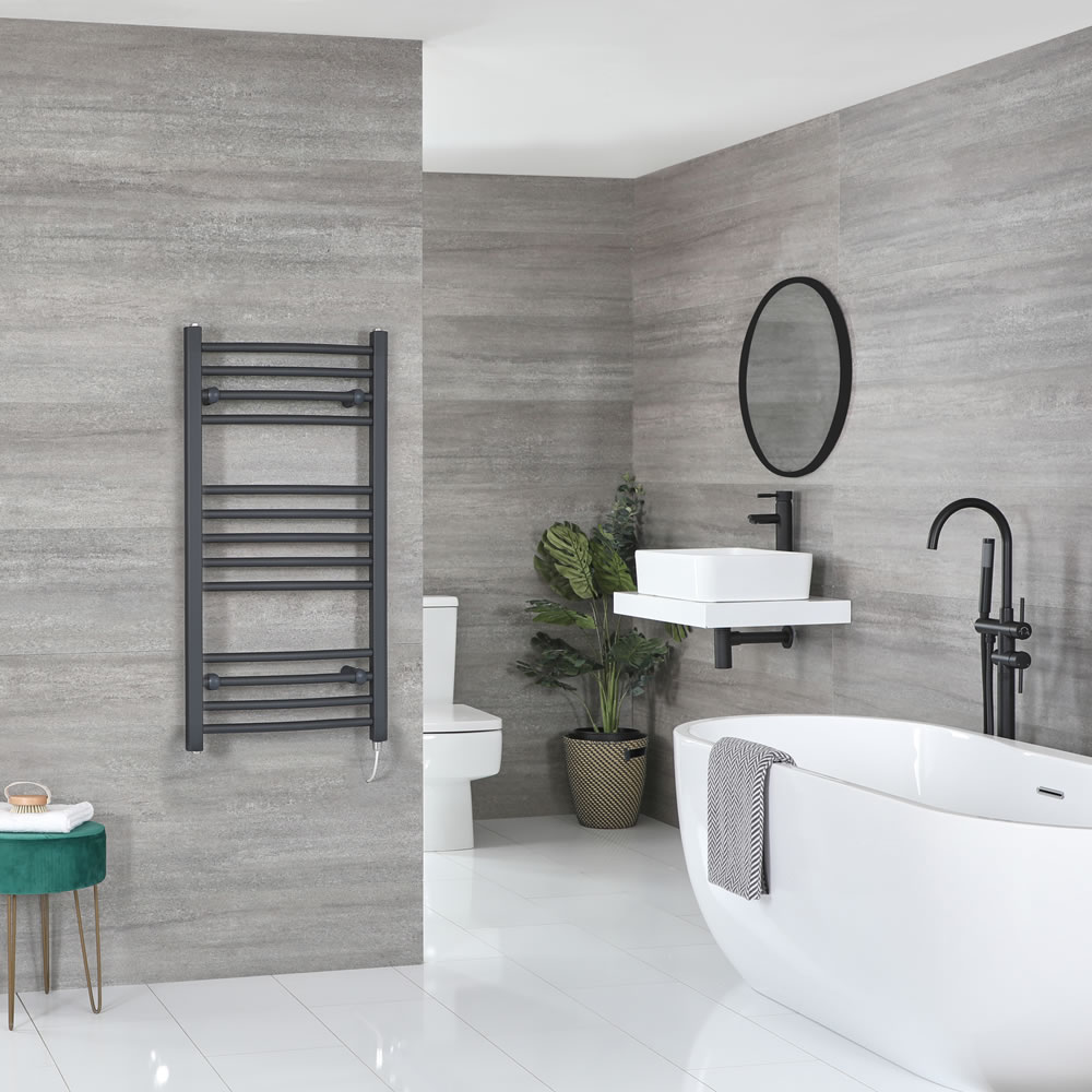 Milano Artle Electric - Curved Anthracite Heated Towel Rail 1000mm x 500mm