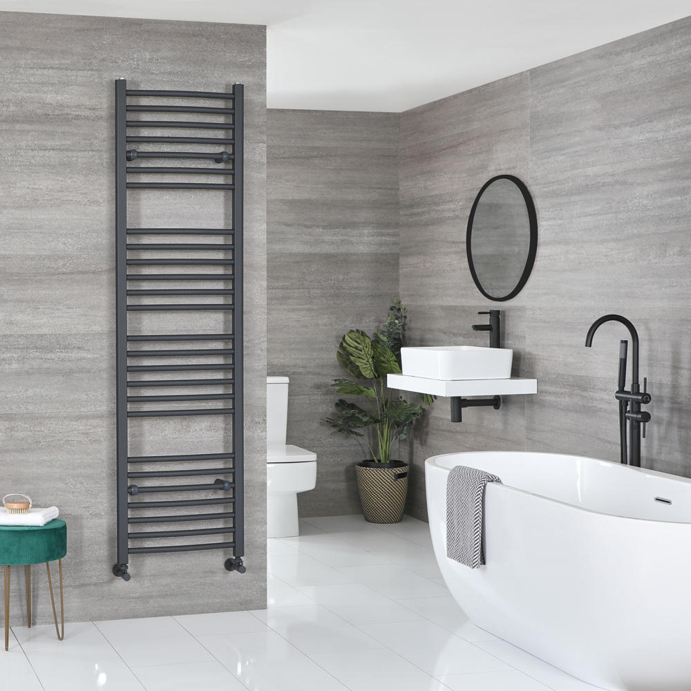 Milano Artle - Curved Anthracite Heated Towel Rail 1800mm x 500mm