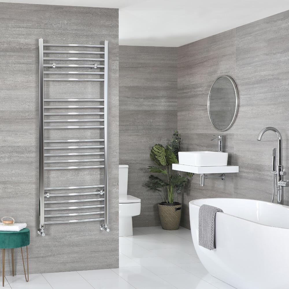 Milano Kent - Curved Chrome Heated Towel Rail - Various Sizes