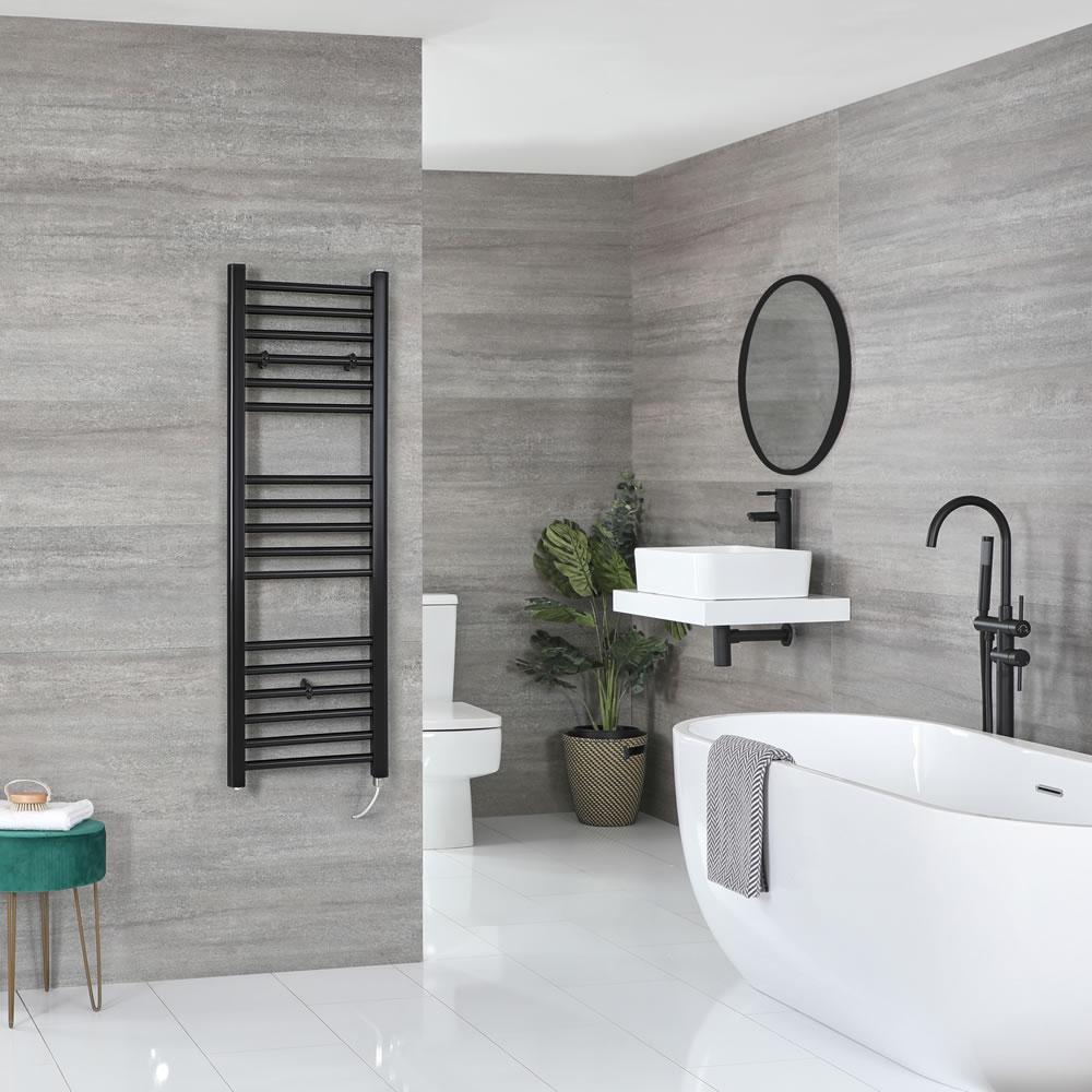 Milano Nero Electric - Flat Matt Black Heated Towel Rail 1200mm x 400mm