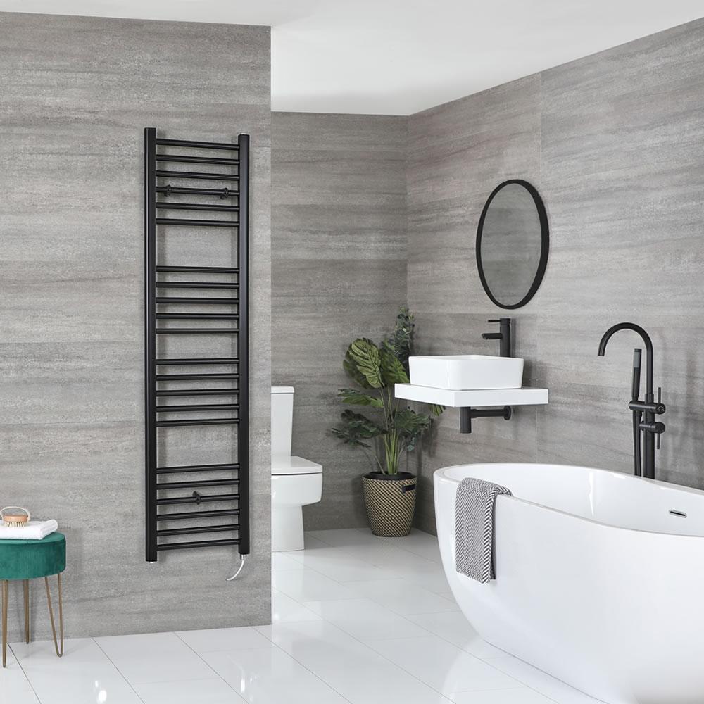 Milano Nero Electric - Flat Matt Black Heated Towel Rail 1600mm x 400mm