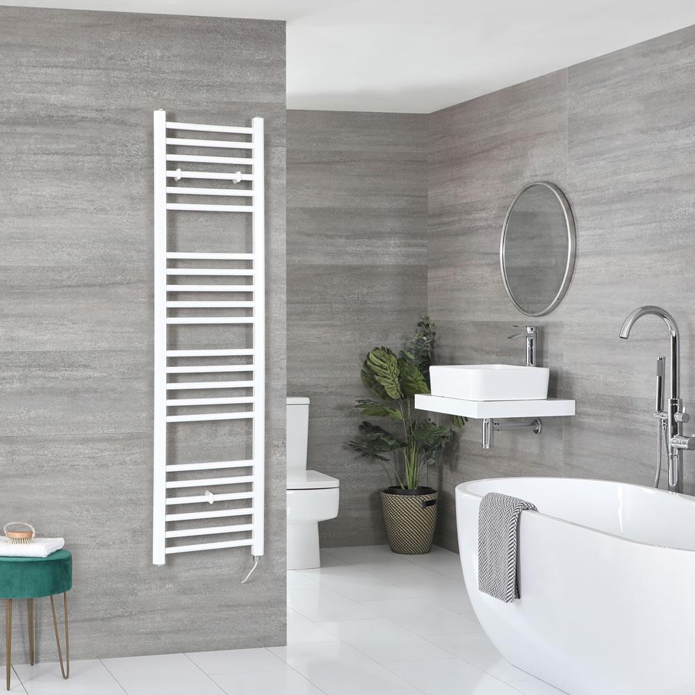 Milano Ive Electric - Flat White Heated Towel Rail 1600mm x 400mm