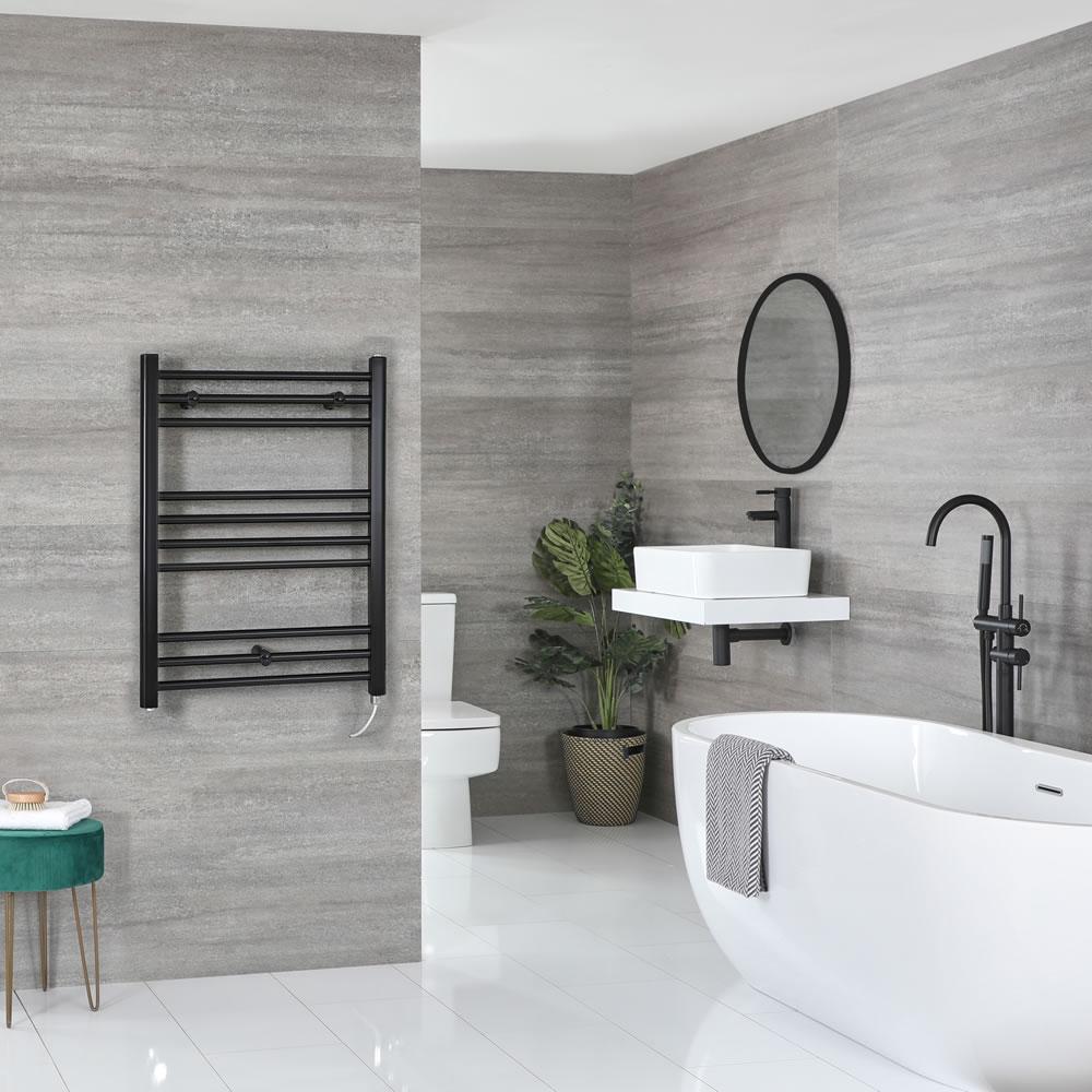 Milano Nero Electric - Flat Matt Black Heated Towel Rail 800mm x 500mm