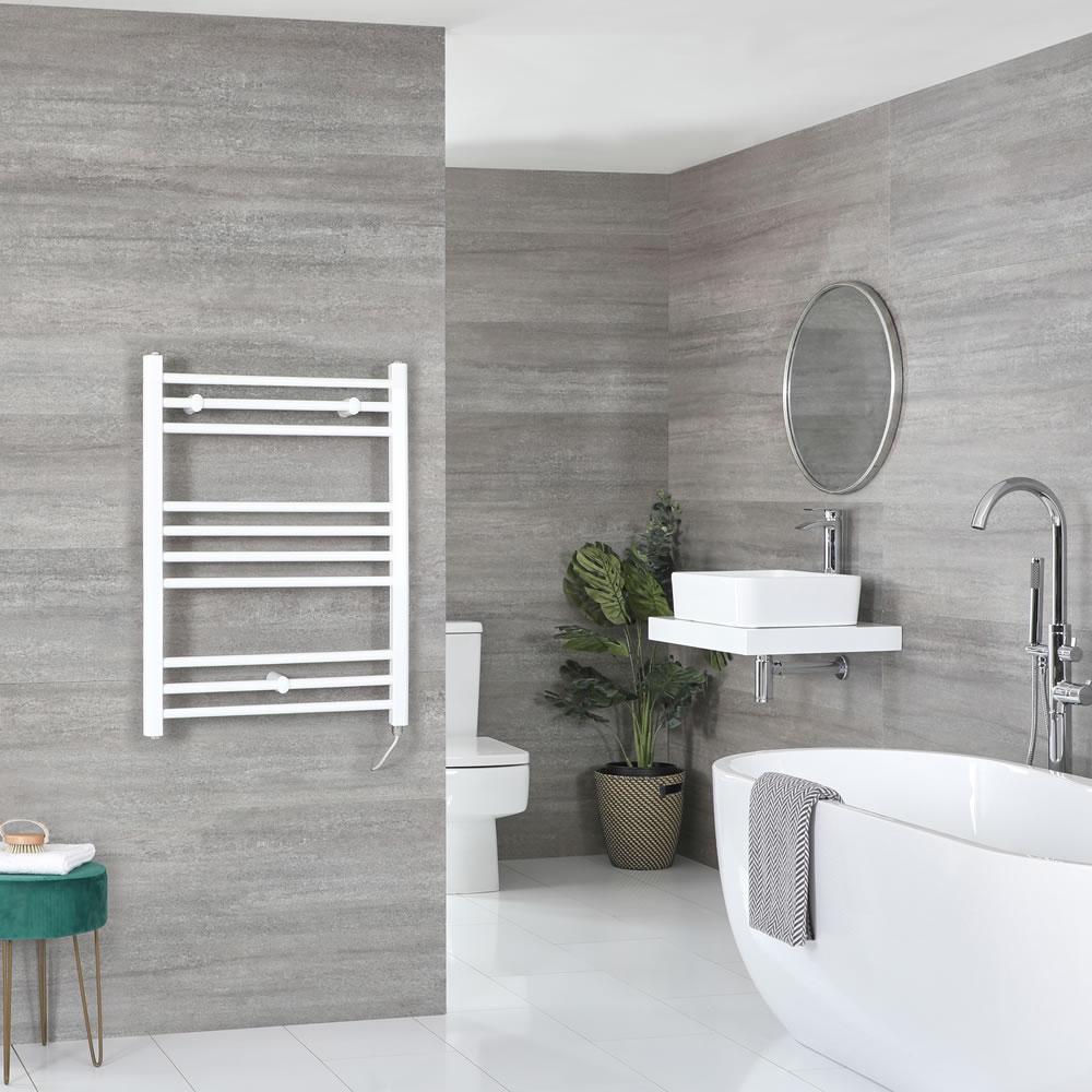 Milano Ive Electric - Flat White Heated Towel Rail 800mm x 500mm