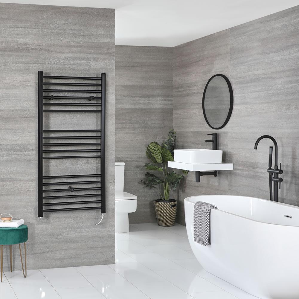 Milano Nero Electric - Flat Matt Black Heated Towel Rail 1200mm x 500mm
