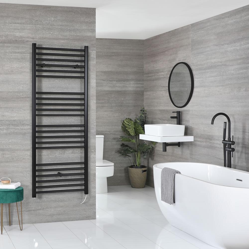 Milano Nero Electric - Flat Matt Black Heated Towel Rail 1600mm x 500mm