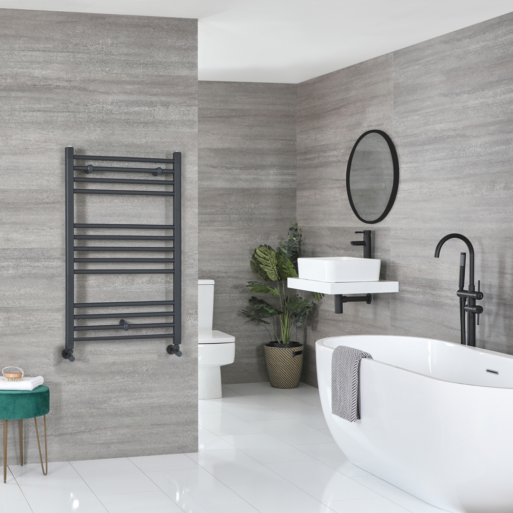 Milano Artle - Flat Anthracite Heated Towel Rail 1000mm x 600mm