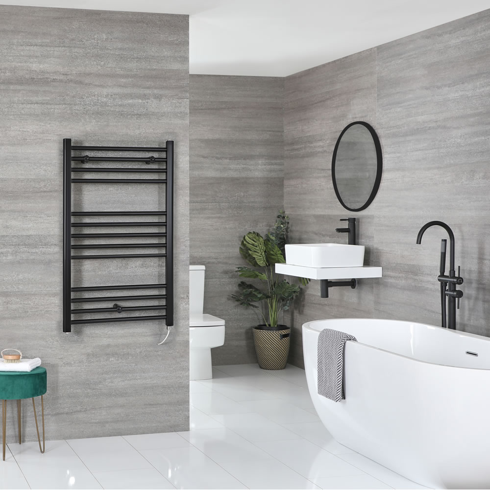 Milano Nero Electric - Flat Matt Black Heated Towel Rail 1000mm x 600mm