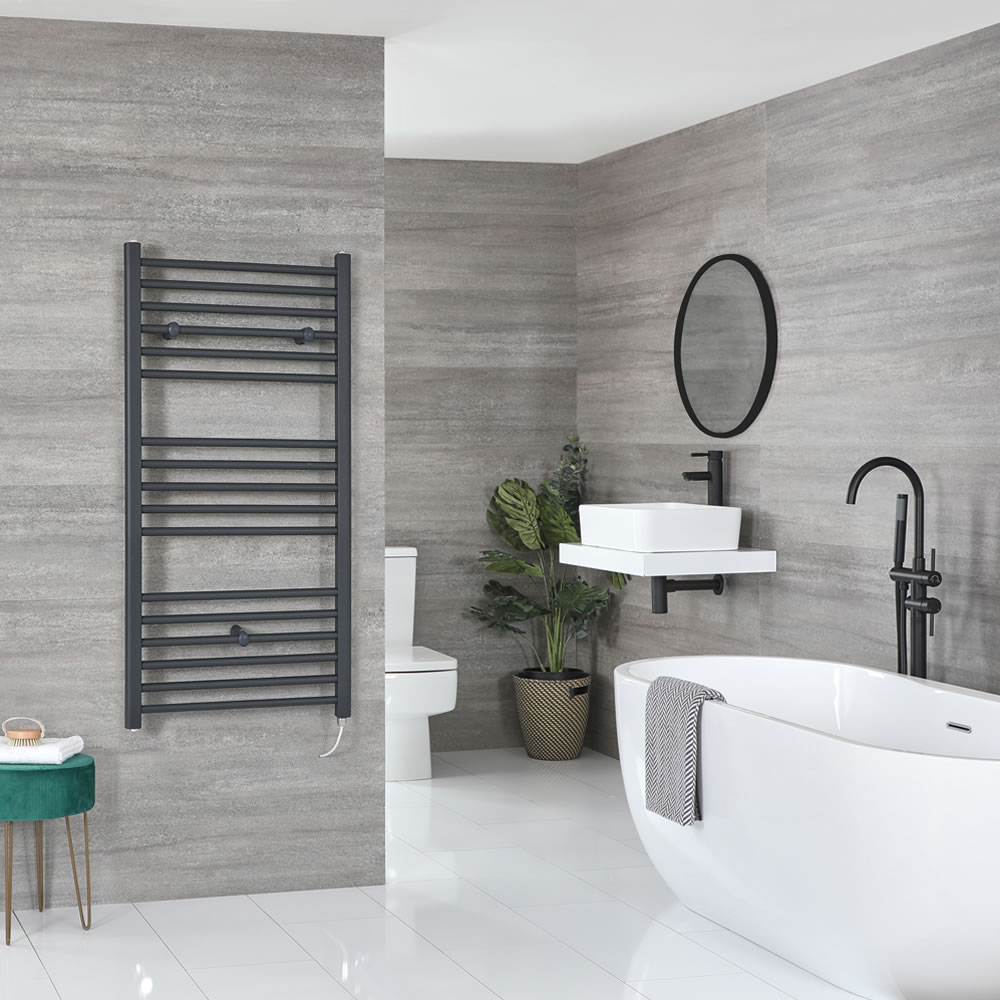 Milano Artle Electric - Flat Anthracite Heated Towel Rail 1200mm x 600mm