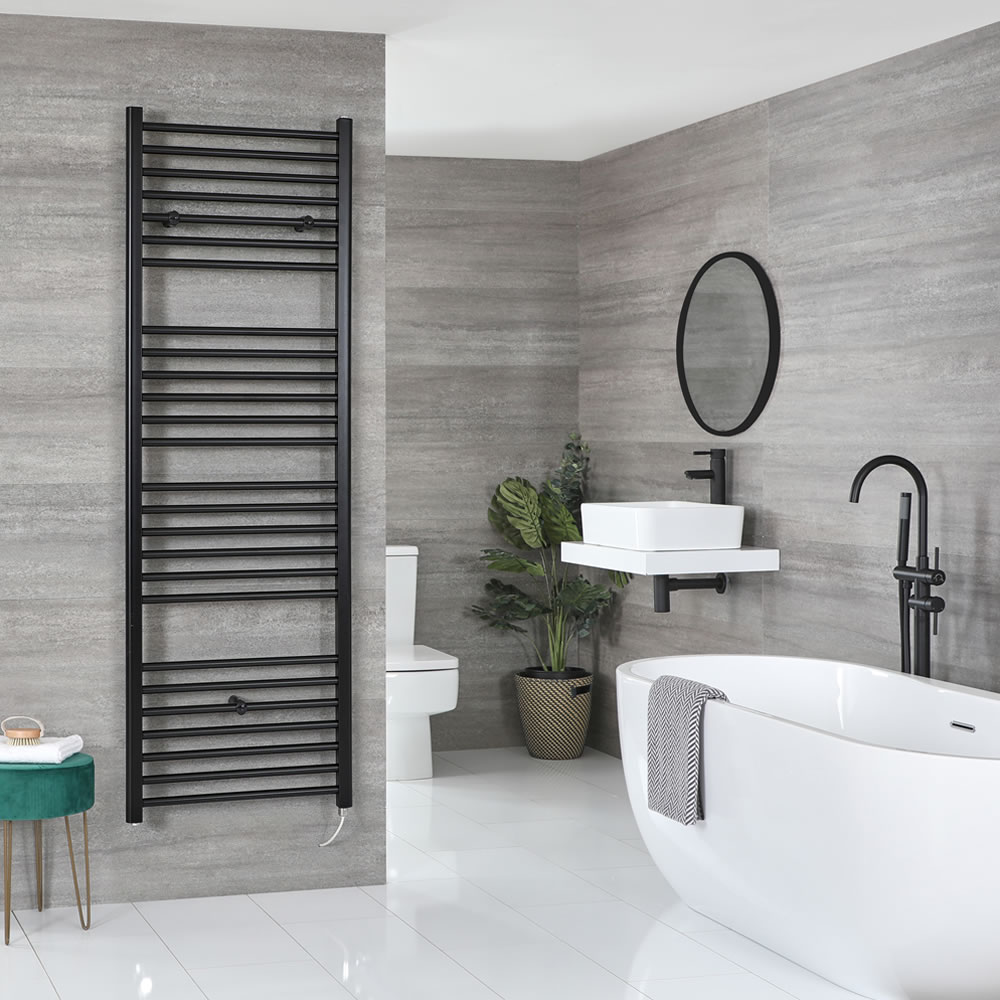 Milano Nero Electric - Flat Matt Black Heated Towel Rail 1800mm x 600mm