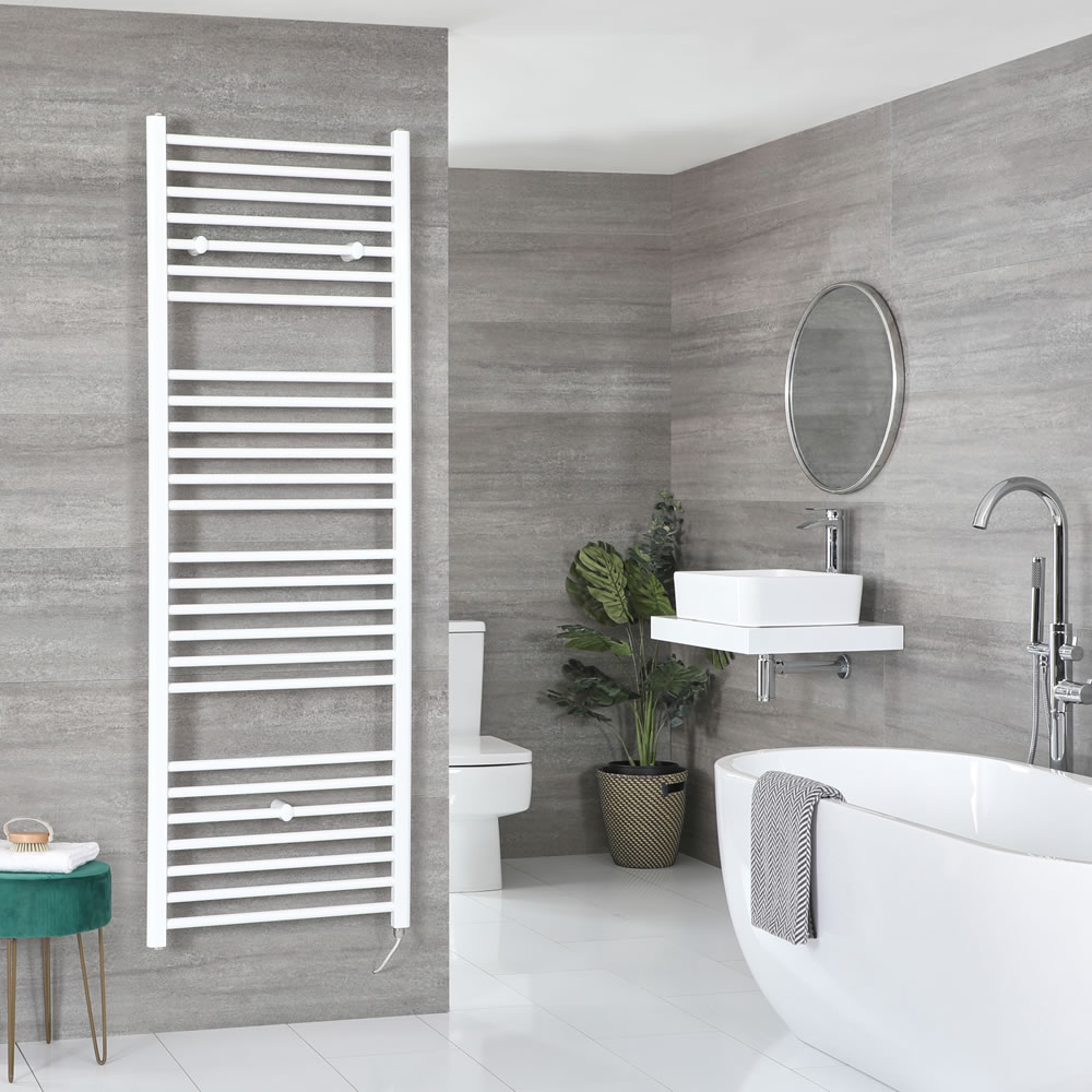 Milano Ive Electric - Flat White Heated Towel Rail 1800mm x 600mm