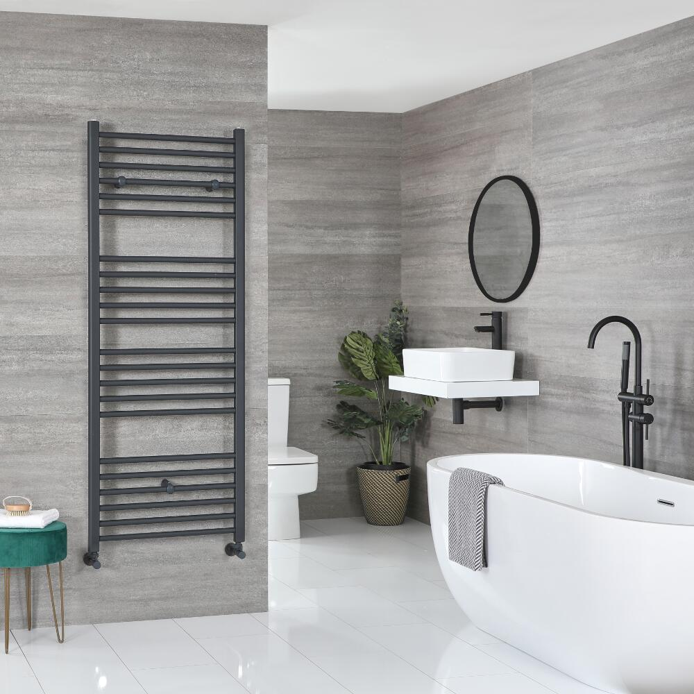 Milano Artle - Flat Anthracite Heated Towel Rail - Various Sizes