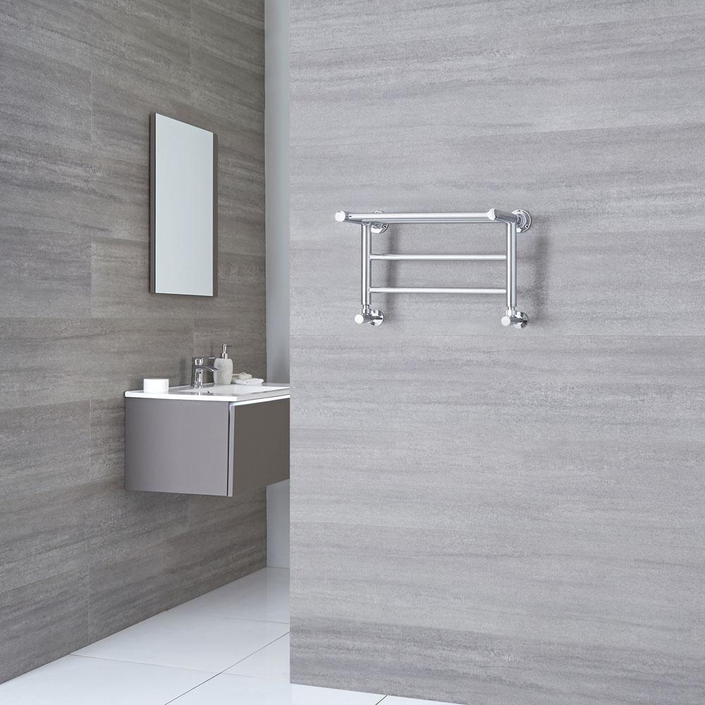 Milano Pendle - Chrome Heated Towel Rail with Heated Shelf 294mm x 532mm