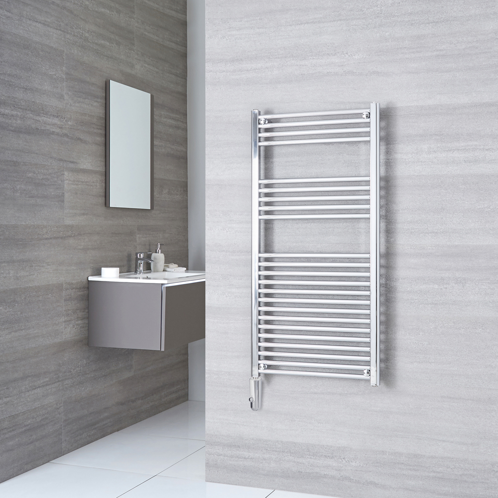 Kudox -  Chrome Flat Thermostatic Electric Towel Rail 1200mm x 600mm