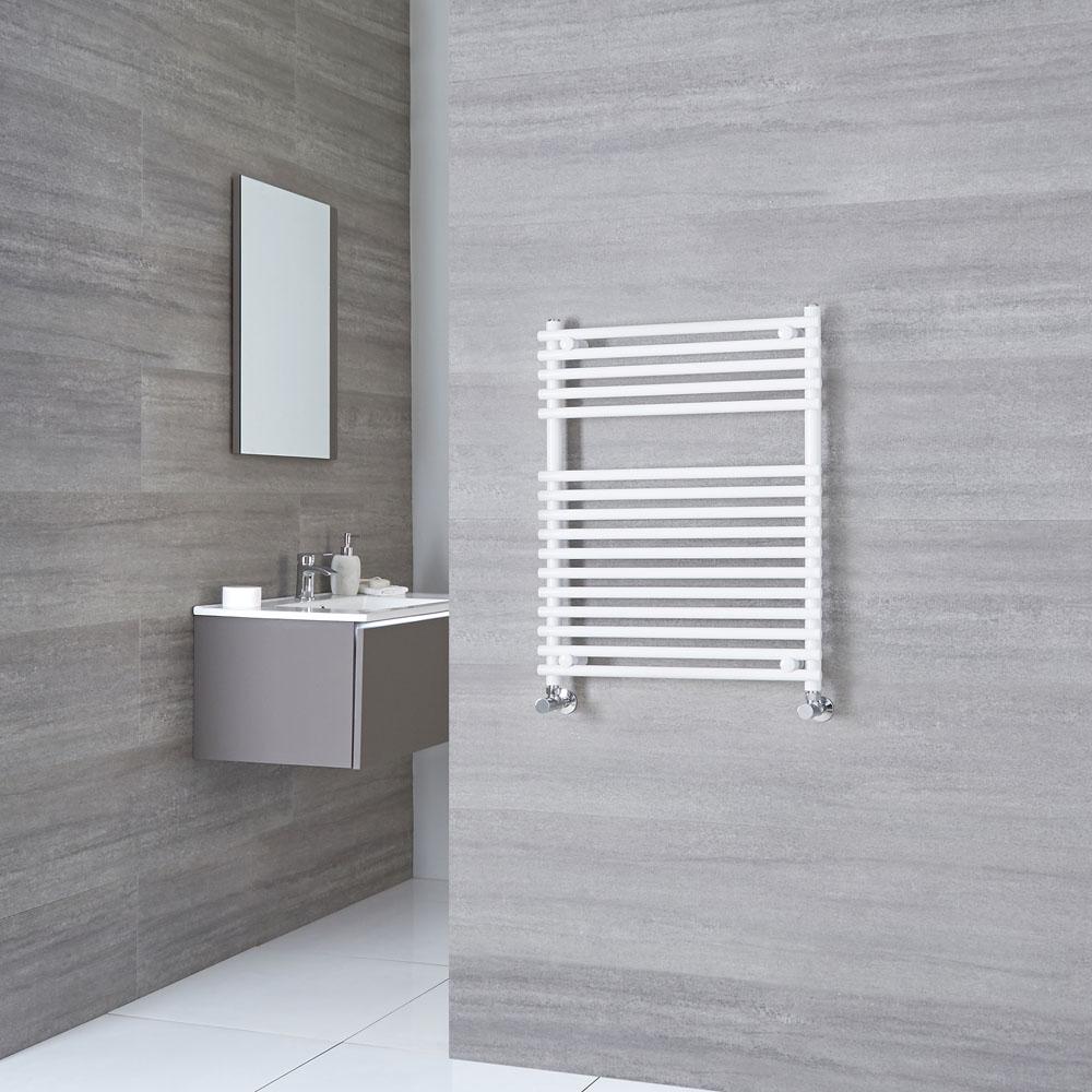 Kudox - Flat White Bar on Bar Heated Towel Rail 750mm x 450mm