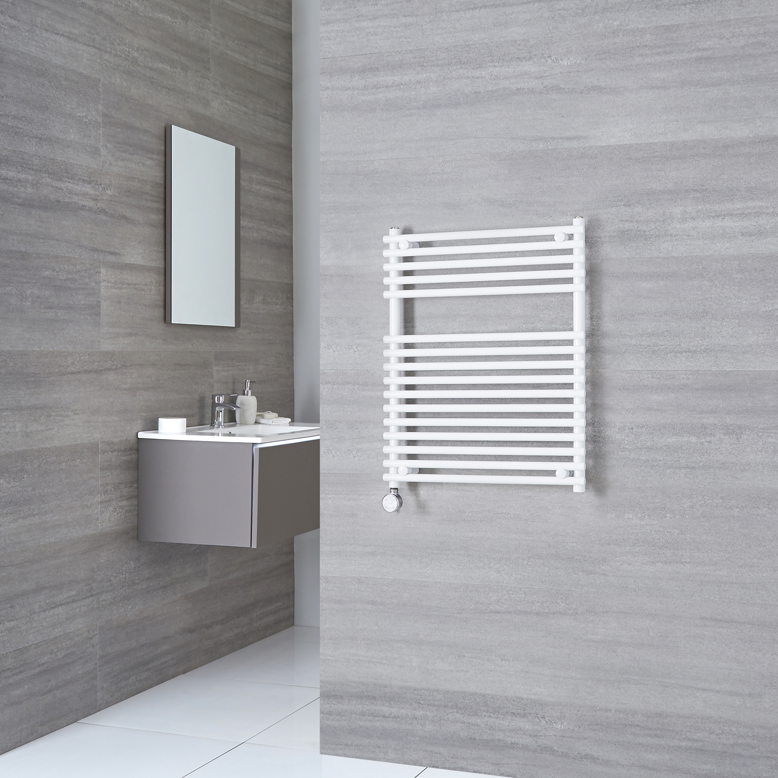Kudox Electric - Flat White Bar on Bar Towel Rail 750mm x 600mm