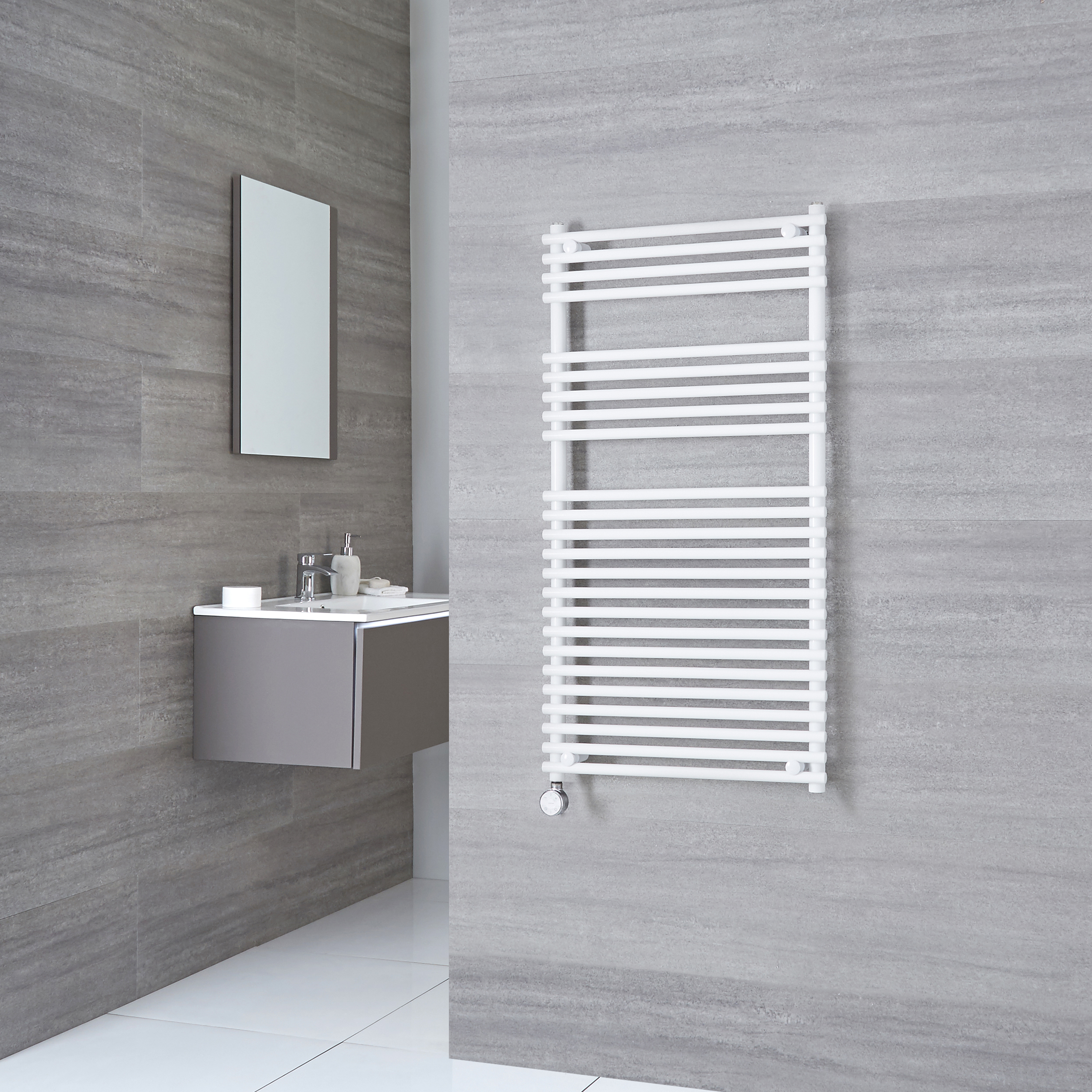 Kudox Electric - Flat White Bar on Bar Towel Rail 1150mm x 600mm