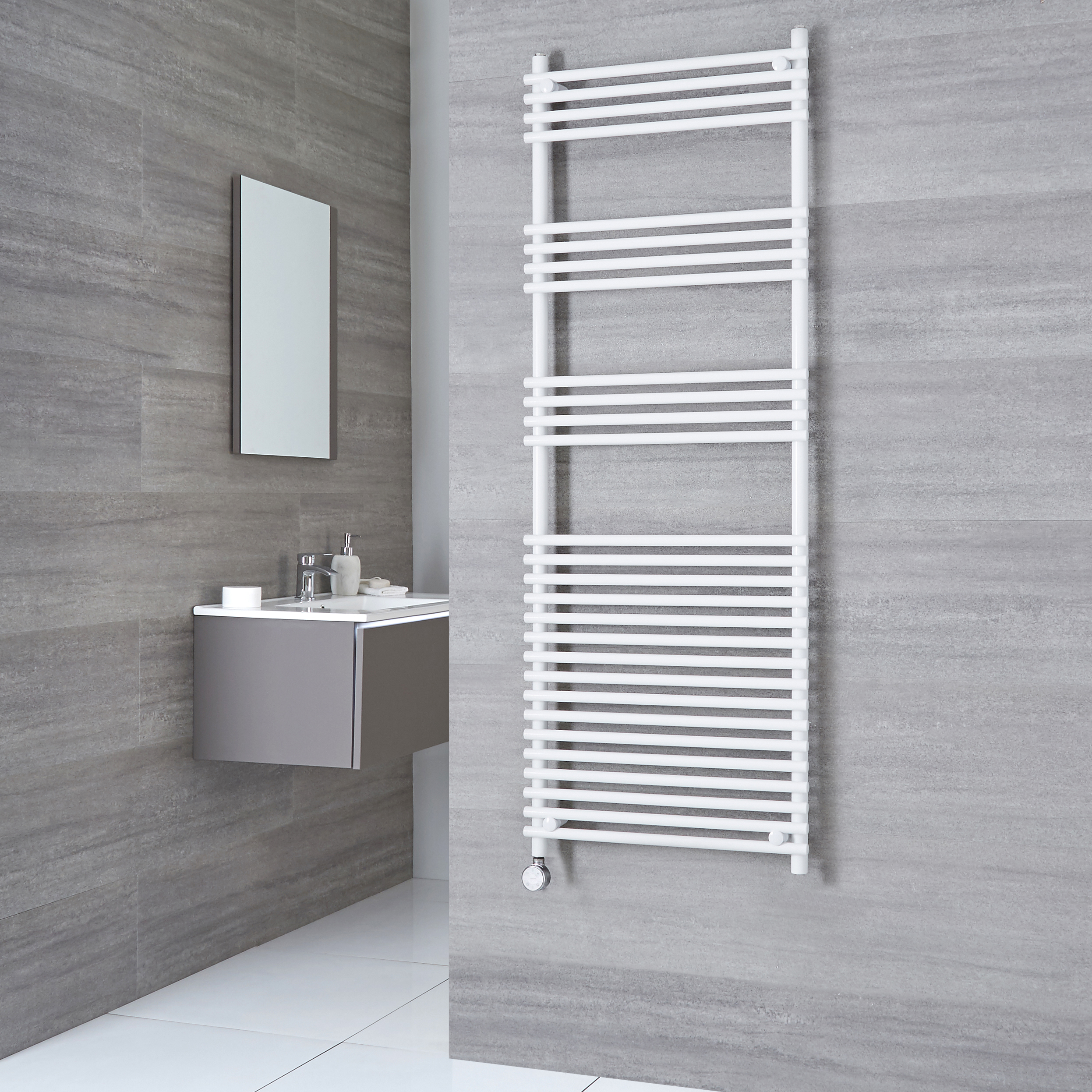 Kudox Electric - Flat White Bar on Bar Towel Rail 1650mm x 600mm