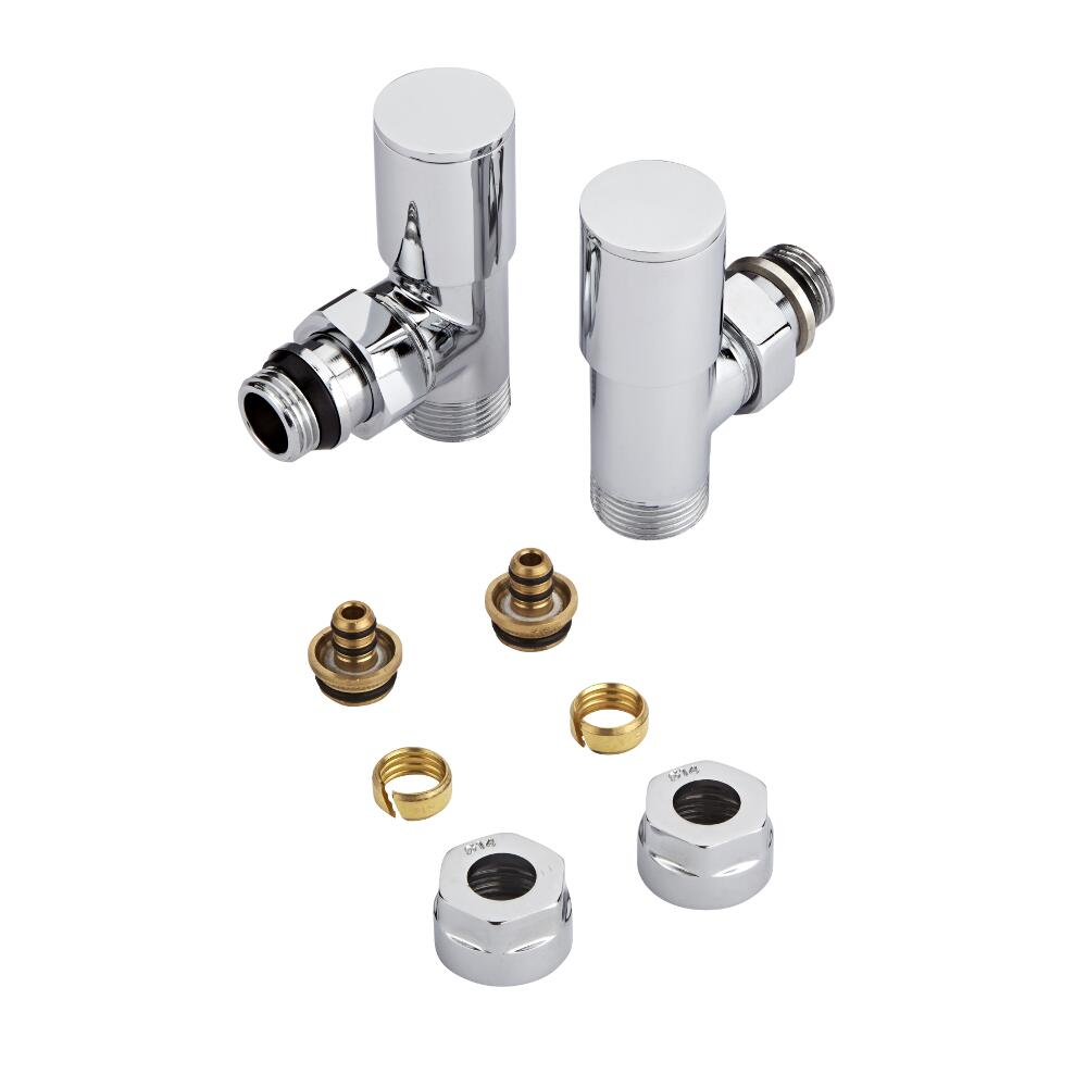 Chrome 3/4'' Male Thread Valves with 14mm Multi Adapters
