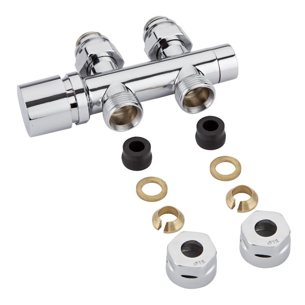 "Chrome 3/4"" Male Thread H Block Straight Valve Chrome Handwheel with 12mm Copper Adapters"