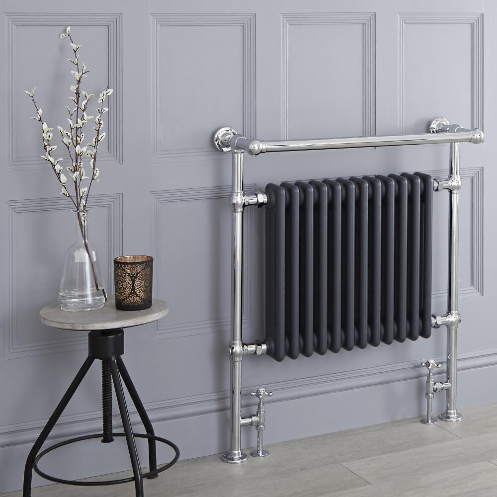 Milano Trent - Anthracite Traditional Heated Towel Rail - 930mm x 790mm (With Overhanging Rail)